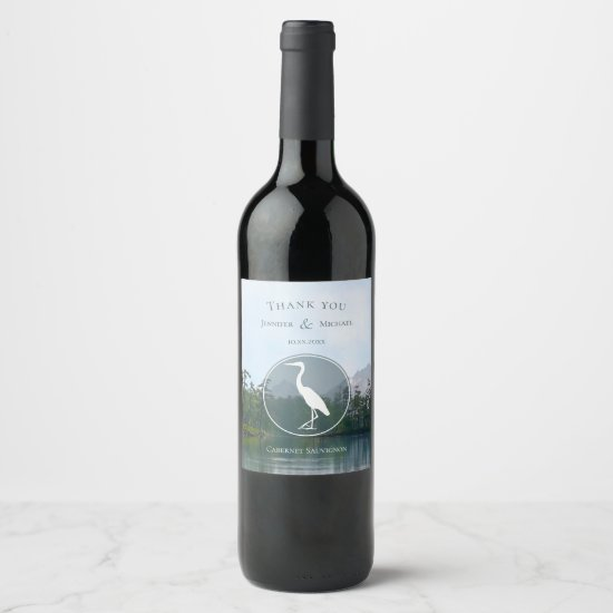 Lake in the mountains rustic nature lovers heron wine label
