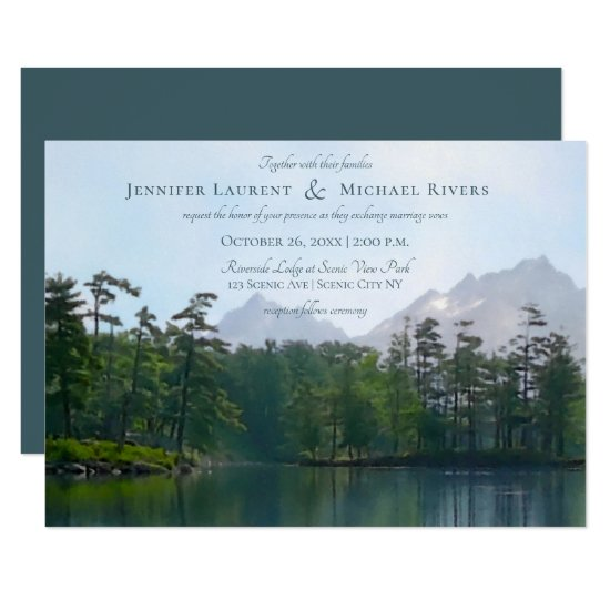 Lake in the mountains rustic nature lovers invitation