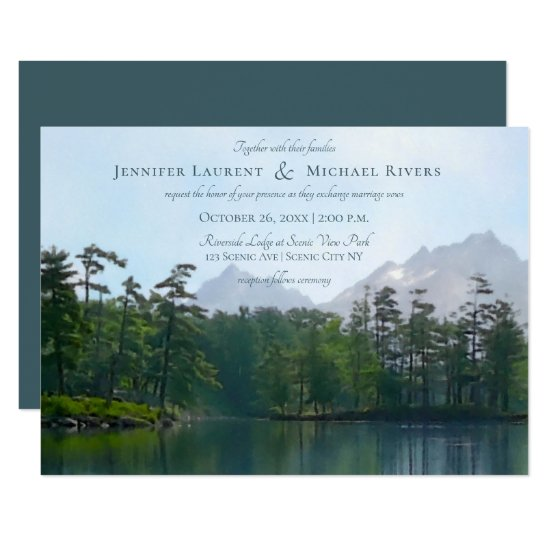 Lake in the mountains rustic nature lovers wedding invitation