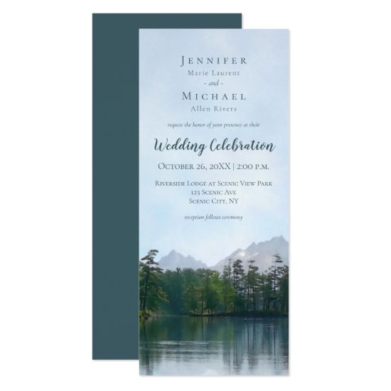 Lake in the mountains rustic nature wedding invitation