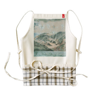 Lake in the mountains zazzle HEART apron