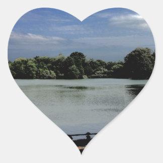 Lake.jpg Pegatina En Forma De Corazón