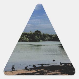 Lake.jpg Pegatina Triangular