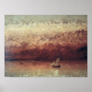 Lake Leman with Setting Sun, c.1876 Poster
