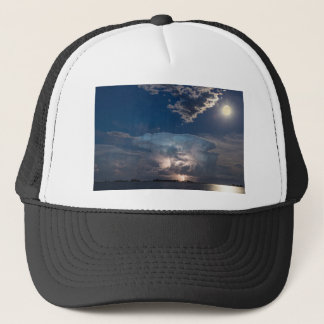 Lake Lightning Thunderstorm Cell and Full Moon Trucker Hat