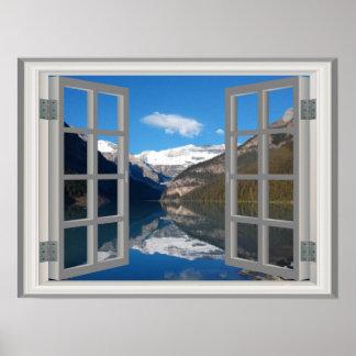 Lake Louise Mountain Reflection Faux Window Poster