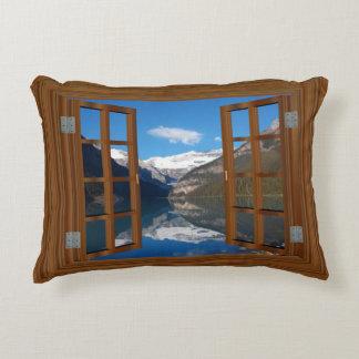 Lake Louise Mountain Reflection Lake Faux Window Decorative Pillow
