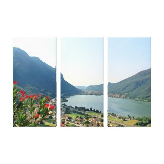 Lake Lugano  -  3 panel painting Canvas Print