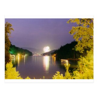 lake lure fireworks postcard