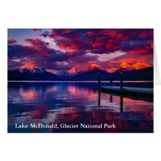 Lake McDonald, Glacier National Park red sky Card