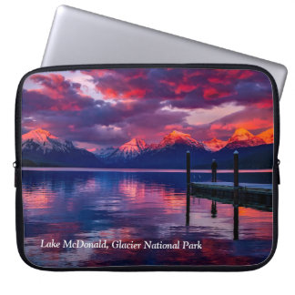 Lake McDonald, Glacier National Park red sky Laptop Sleeve