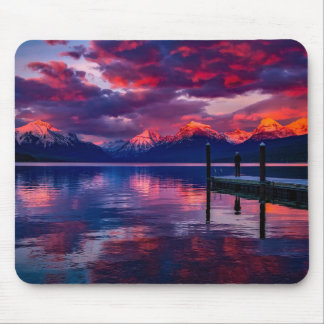 Lake McDonald, Glacier National Park red sky Mouse Pad