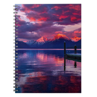 Lake McDonald, Glacier National Park red sky Notebook