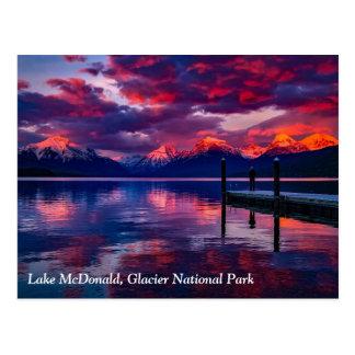 Lake McDonald, Glacier National Park red sky Postcard