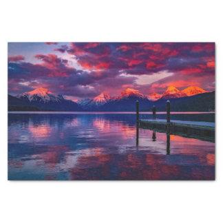 Lake McDonald, Glacier National Park red sky Tissue Paper