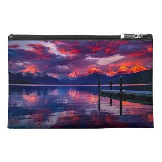 Lake McDonald, Glacier National Park red sky Travel Accessories Bag