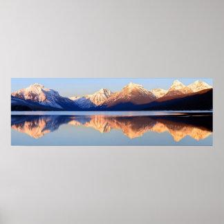 Lake McDonald Landscape Scenic Snowy Mountains Poster