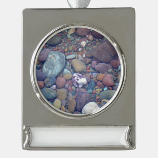 Lake McDonald Rocks Silver Plated Banner Ornament