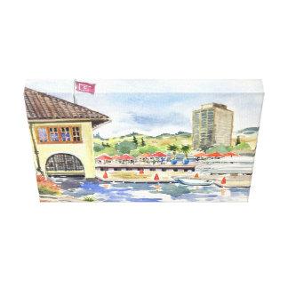 Lake Merritt Boat House watercolor Canvas Prints