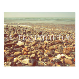 Lake Michigan Beach Rocks Shoreline Sea Postcard