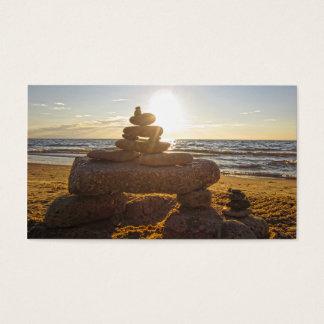 Lake Michigan Beach Rocks Stacked Business Card