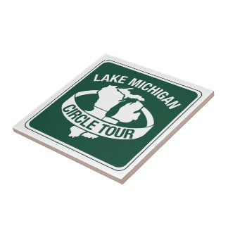 Lake Michigan Circle Tour, Sign, Wisconsin, USA Ceramic Tile