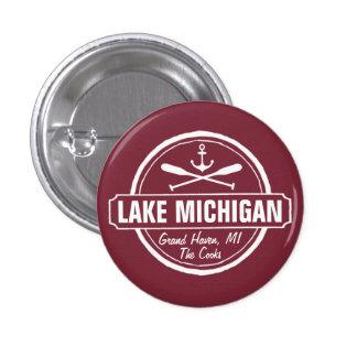 Lake Michigan, custom town, name, anchor, paddles 1 Inch Round Button