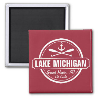 Lake Michigan, custom town, name, anchor, paddles 2 Inch Square Magnet