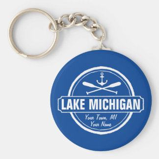 Lake Michigan, custom town, name, anchor, paddles Basic Round Button Keychain