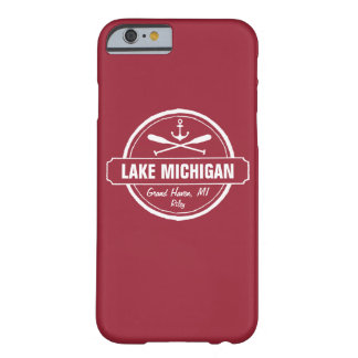 Lake Michigan, custom town, name, anchor, paddles Barely There iPhone 6 Case