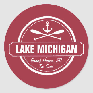 Lake Michigan, custom town, name, anchor, paddles Classic Round Sticker