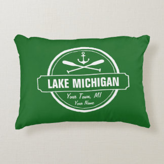 Lake Michigan, custom town, name, anchor, paddles Decorative Pillow