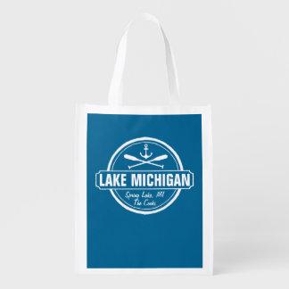 Lake Michigan, custom town, name, anchor, paddles Grocery Bag