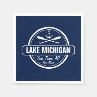 Lake Michigan, custom town, name, anchor, paddles Napkin