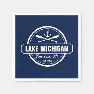 Lake Michigan, custom town, name, anchor, paddles Napkin
