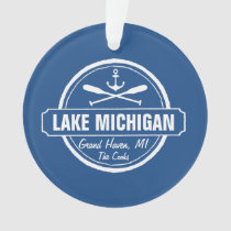 Lake Michigan, custom town, name, anchor, paddles Ornament