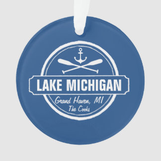 Lake Michigan, custom town, name, anchor, paddles Ornament