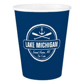 Lake Michigan, Custom Town, Name, Anchor, Paddles Paper Cup