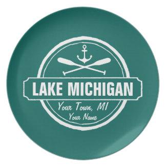 Lake Michigan, custom town, name, anchor, paddles Plate