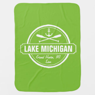 Lake Michigan, custom town, name, anchor, paddles Receiving Blanket