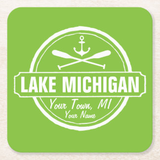 Lake Michigan, custom town, name, anchor, paddles Square Paper Coaster