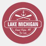 Lake Michigan, custom town, name, anchor, paddles Classic Round Sticker