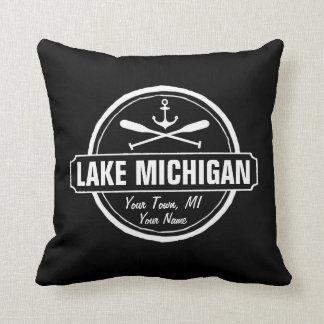 Lake Michigan, custom town, name, anchor, paddles Throw Pillow