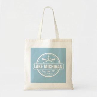 Lake Michigan, custom town, name, anchor, paddles Tote Bag