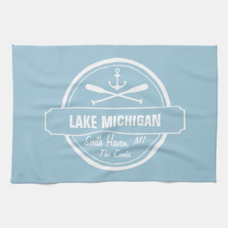Lake Michigan, custom town, name, anchor, paddles Towel