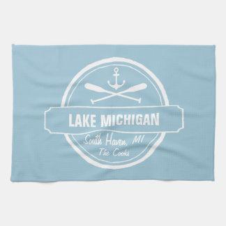 Lake Michigan, custom town, name, anchor, paddles Towel