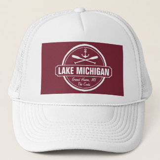 Lake Michigan, custom town, name, anchor, paddles Trucker Hat