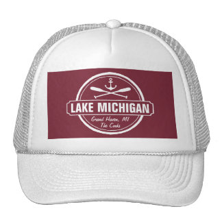 Lake Michigan, custom town, name, anchor, paddles Trucker Hat