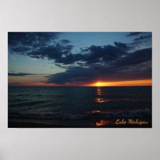 Lake Michigan Fiery Orange Sunset in July Poster