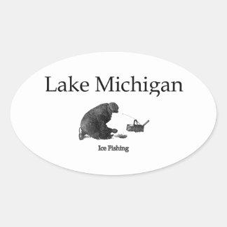 Lake Michigan Ice Fishing Oval Sticker